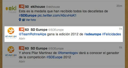 tweet con la noticia de la casa ganadora en el Solar Decathlon 2012