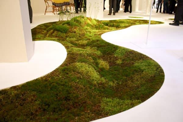 Jardín interior de MUSGO sobre Terramac, un tejido bioplástico