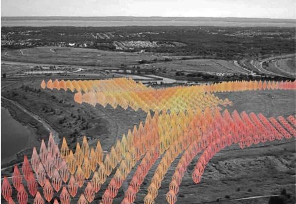 paisaje Whirlers, con turbinas tipo Darrieus