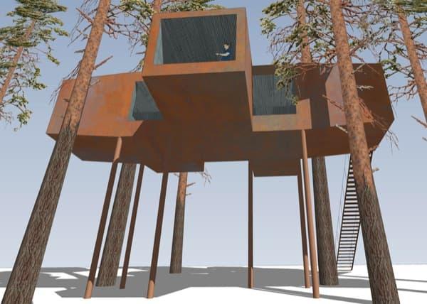 casa-arbol-sala-conferencias-Treehotel-render-exterior