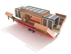 Casa rodante con paneles solares, y desplegable