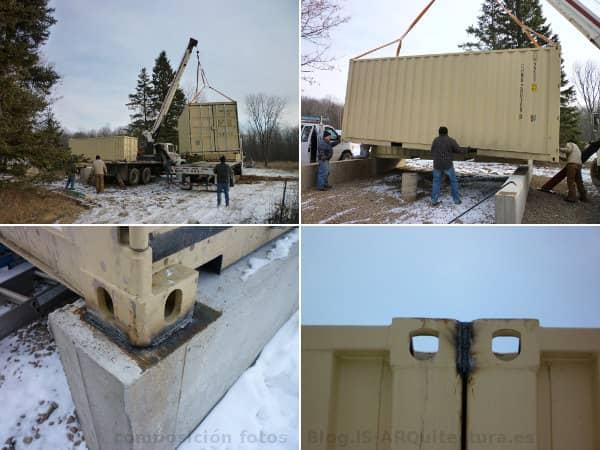 Cabaña Tin_CAN colocacion contenedores cimentacion