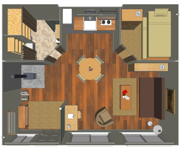 Cabaña Tin_CAN interior render