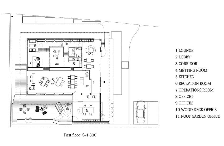 Denen edificio de oficinas con azotea ajardinada for Planos de oficinas pequenas