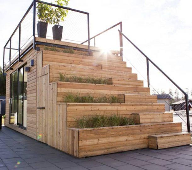 Steps 15 cobertizo prefabricado con azotea y cocina port til for Escalera madera portatil