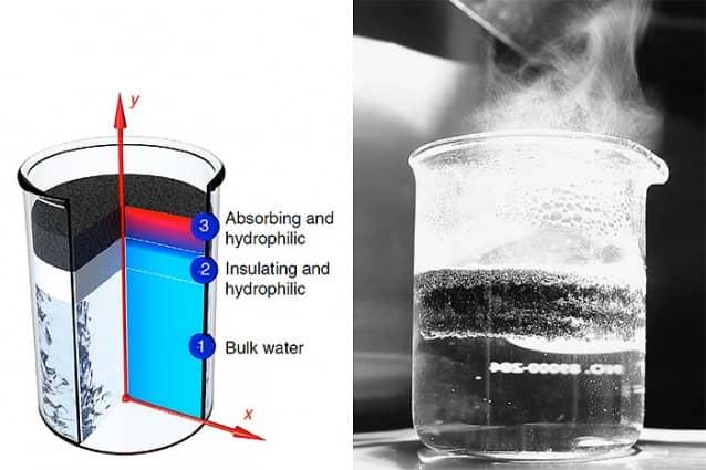 Esponja de grafito que convierte energía solar en vapor
