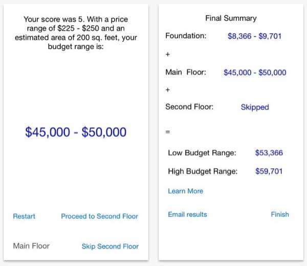 Aplicación para estimar presupuestos de casas diminutas