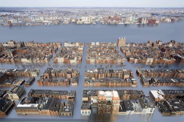 Back-Bay inundada por subida de los mares