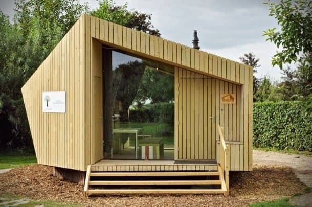 Caba a prefabricada ecol gica de madera trek in - Como hacer una cabana de madera ...
