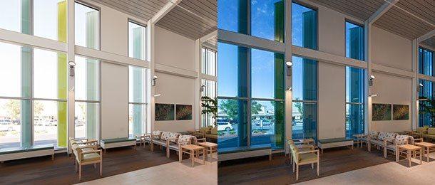 Ejemplo aplicación ventanas vidrio inteligente tintado