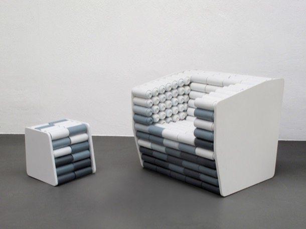 Reciclado de latas para producir l mparas y muebles for Sofa reciclado