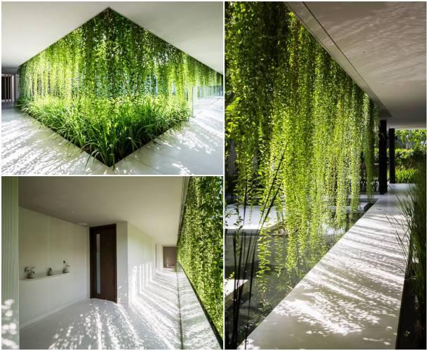 Edificio de salas de masajes con fachada vegetal for Jardines colgantes para interiores