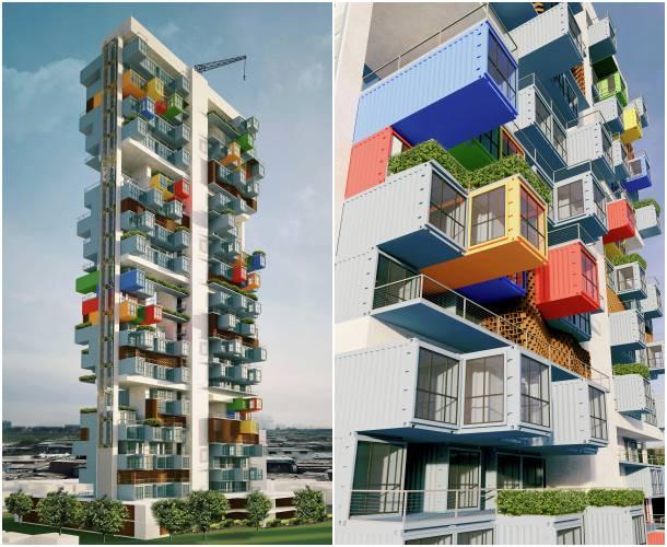Contenedores mar timos para crear un rascacielos de 100m - Arquitectura contenedores maritimos ...