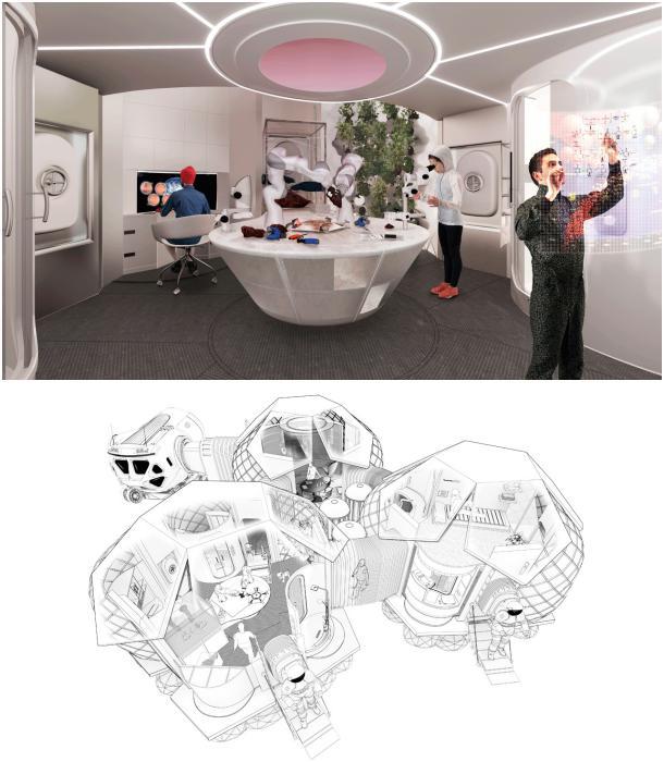 Habitats modulares impresion 3D interior