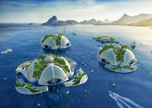 ciudad flotante futurista Aequorea