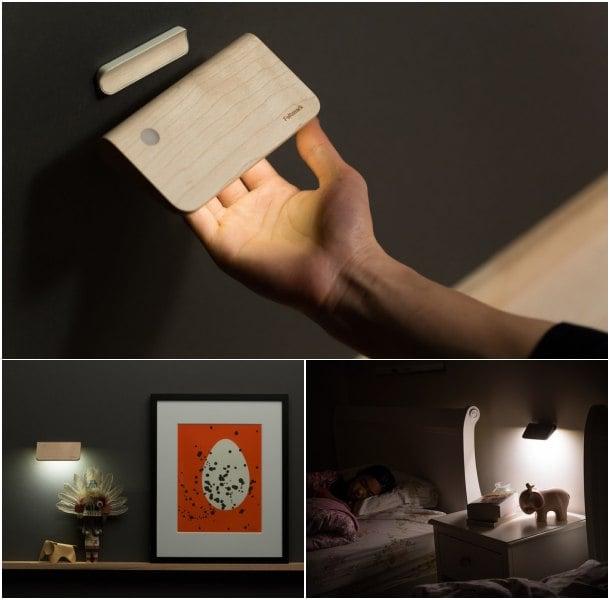 lámpara solar LED de madera