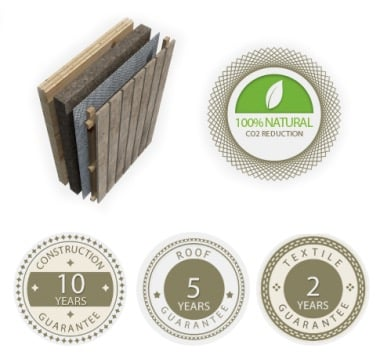 material sostenible cabañas Lushna