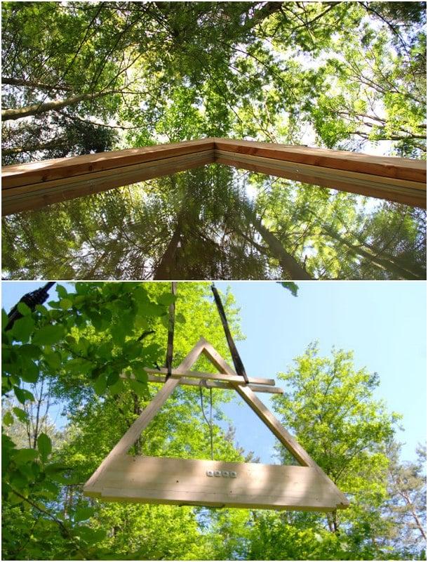 ventana triangular cabaña madera Lushna