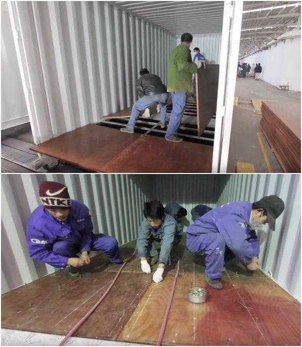 montaje suelo contenedor