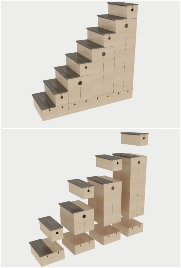 mueble escalera 11 elementos