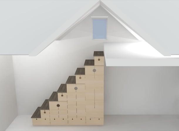 Mueble escalera con armarios y cajones de madera contrachapada Muebles para casas pequenas