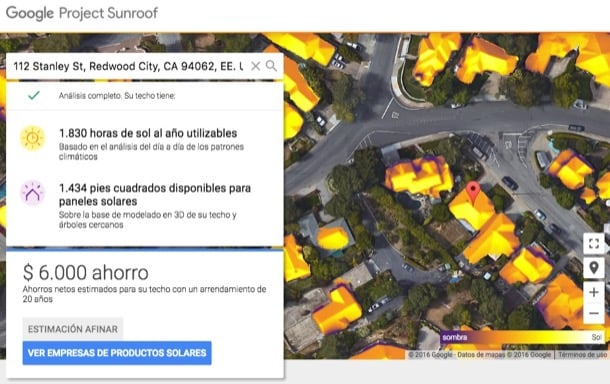 Google Sunroof instalación fotovoltaica