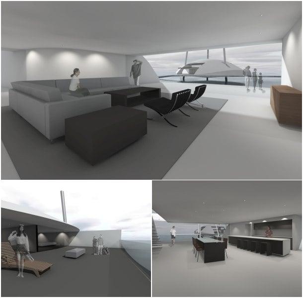 Tidal House interior casa flotante