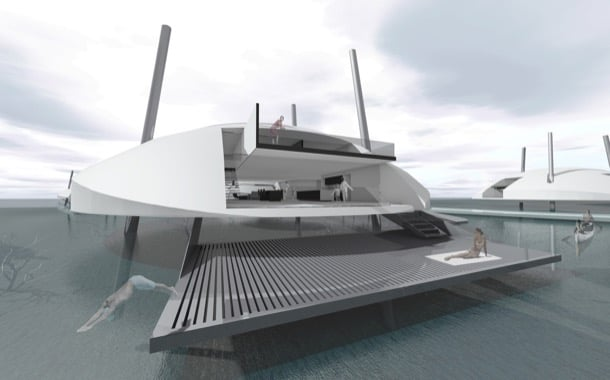 Tidal House: estructura flotante sobre patas retráctiles