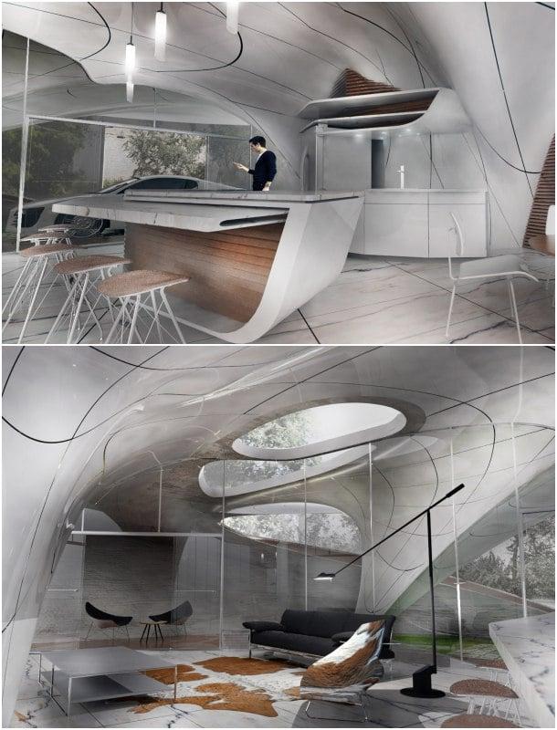 casa por impresion 3D - cocina