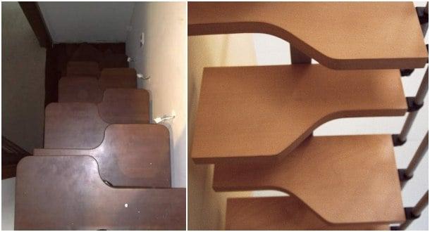 escaleras de peldaños alternados