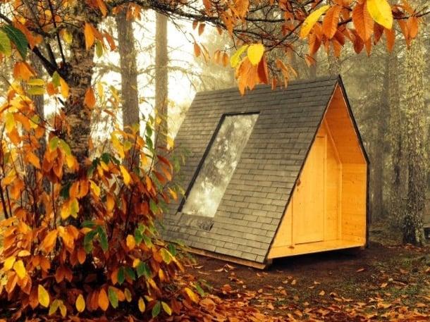 micro cabaña de madera rotativa
