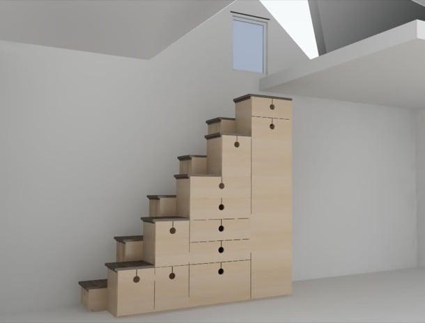 mueble escalera de pasos alternos