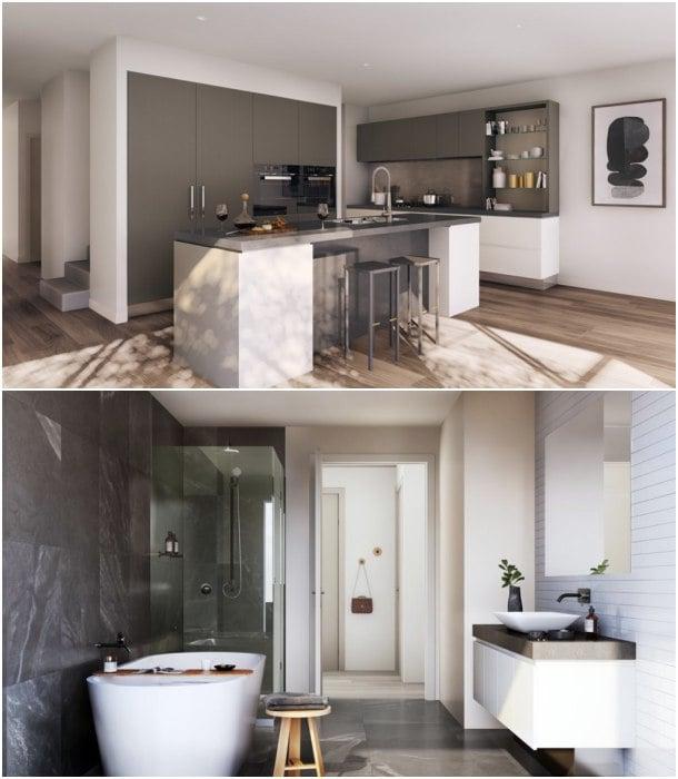 cocina y baño casa en YarraBend
