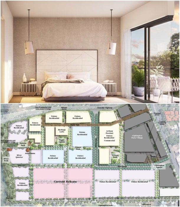 dormitorio y plano del barrio YarraBend