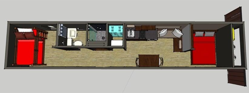 Casa en un contenedor high cube de 40 pies de largo - Casa contenedores maritimos ...