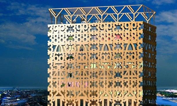gran edificio de madera Trätoppen