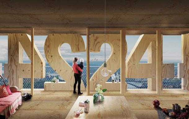 interior apartamento torre madera Trätoppen