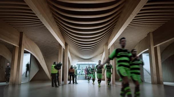 campo de fútbol de madera