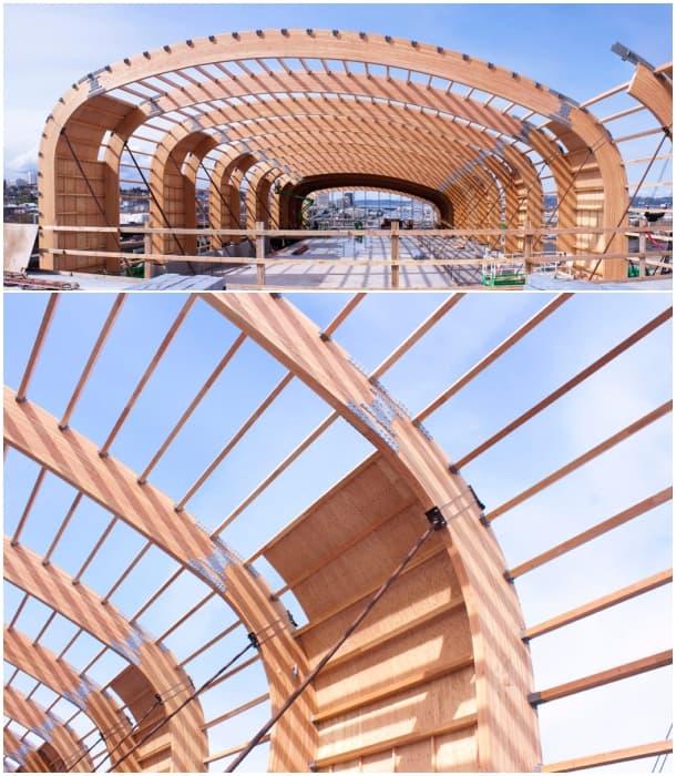 Cubierta del museo lemay con estructura de madera laminada curvada - Estructura madera laminada ...