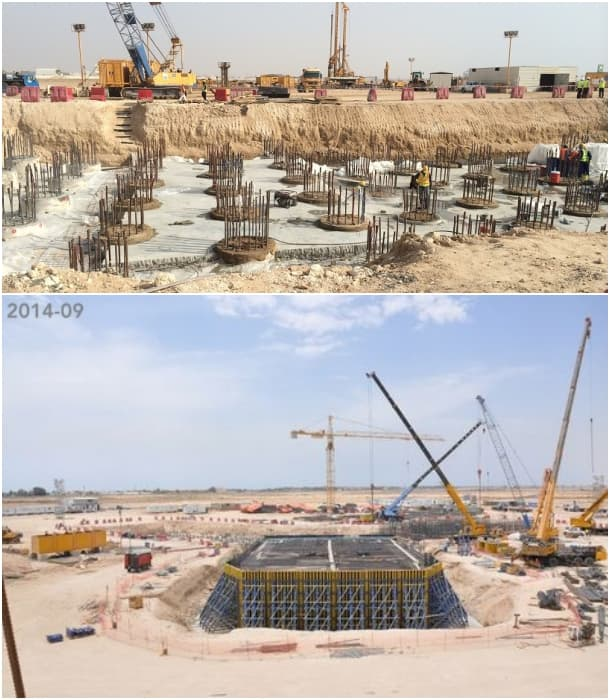 construcción de la Jeddah Tower, pilotes y cimentación