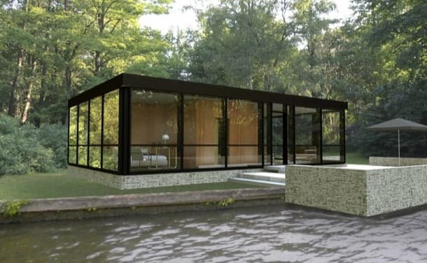 exterior Casa modular de vidrio inspirada glass-house