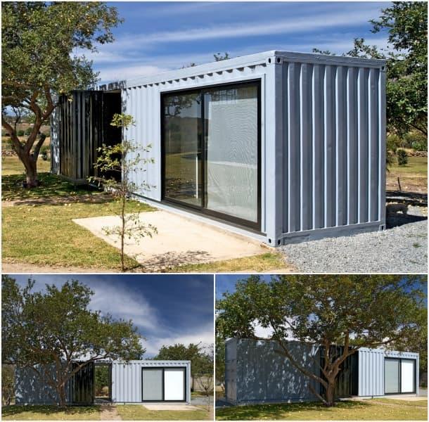 exterior habitaciones huespedes con contenedores