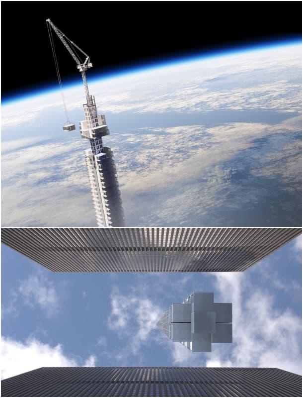 mega-rascacielos colgado de una roca Analema Tower