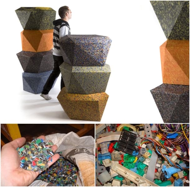 100% taburetes de material reciclado postconsumo