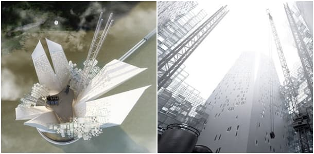 Heal Berg rascacielos flotante futurista renders