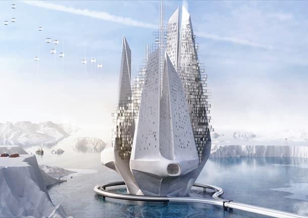 Heal Berg rascacielos flotante futurista