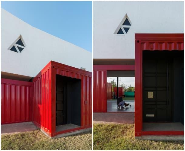 entrada casa hibrida con contenedores