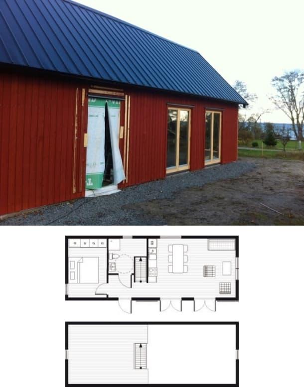 exterior y planos planta cabaña
