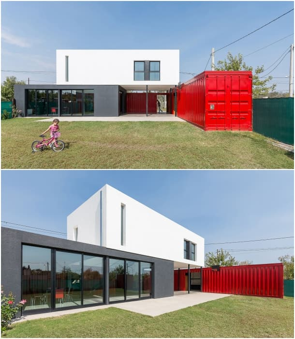 jardin casa con dos contenedores Jose Schreiber