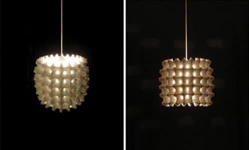 lámpara colgante cartones huevos reciclados
